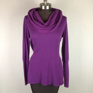 Splendid Cowl Neck Thermal Purple Top Shirt EUC
